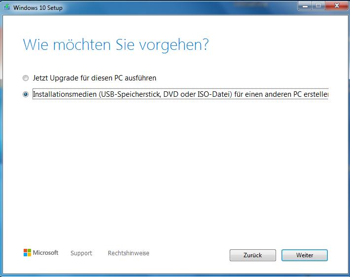 MCT USB-Stick Auswahl