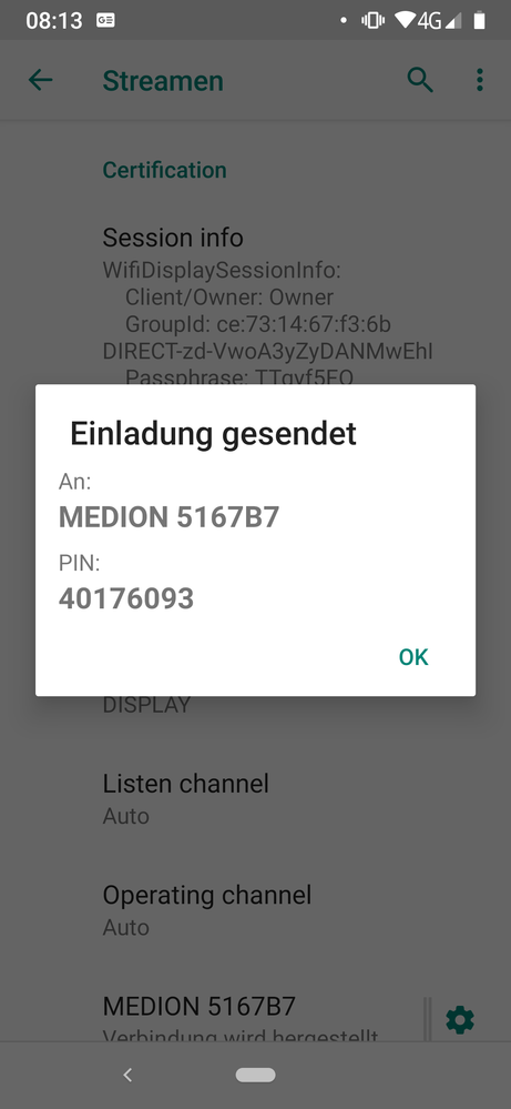 Diese Nachricht erscheint auf den Handy
