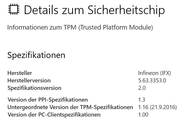 TPM Details unter Windows 10