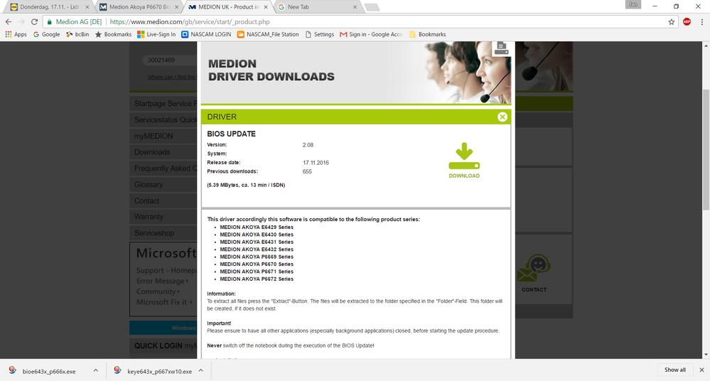 Bitte bioe643x_p666x.exe downloaden.