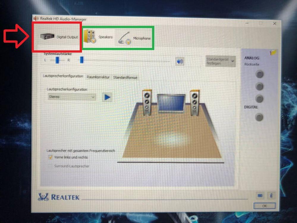 HDMI ist zusätzlich noch aktiv als Tonausgang
