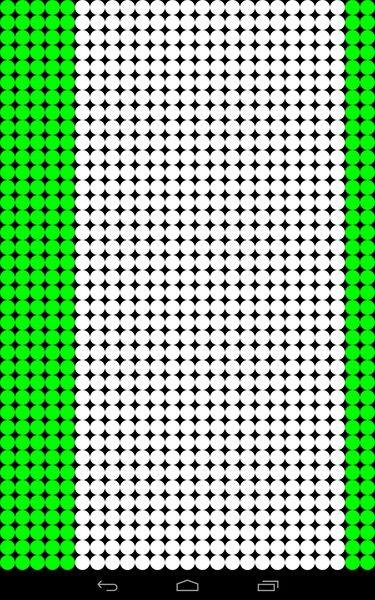 Der Touchscreen funktioniert dort, wo die Punkte grün sind.